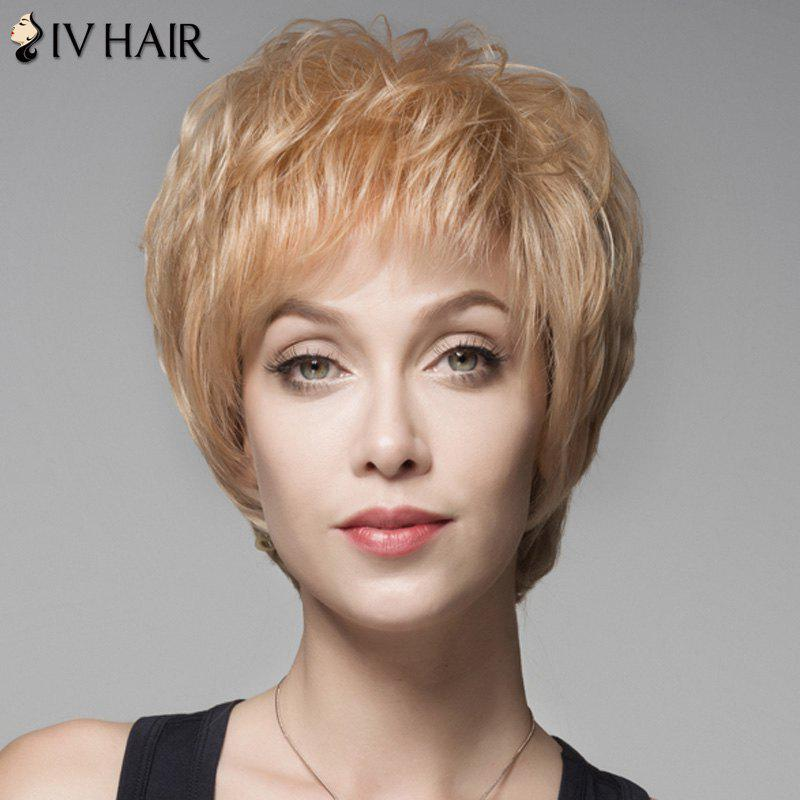 Fluffy Short Human Hair Side Bang Wig For Women - GOLDEN BROWN/BLONDE