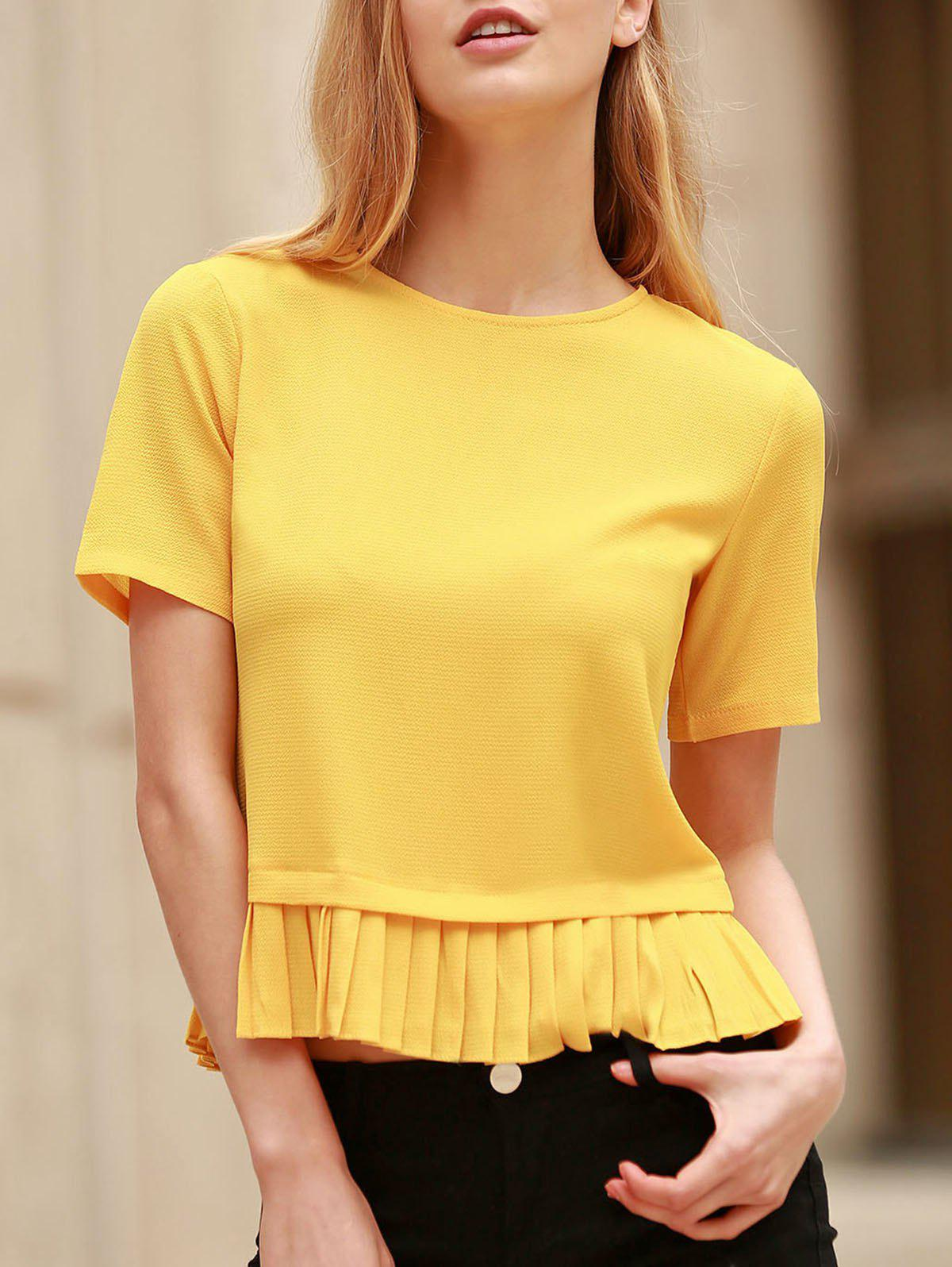 Stylish Short Sleeve Pleated Hem Yellow Pullover T-Shirt For Women - YELLOW S