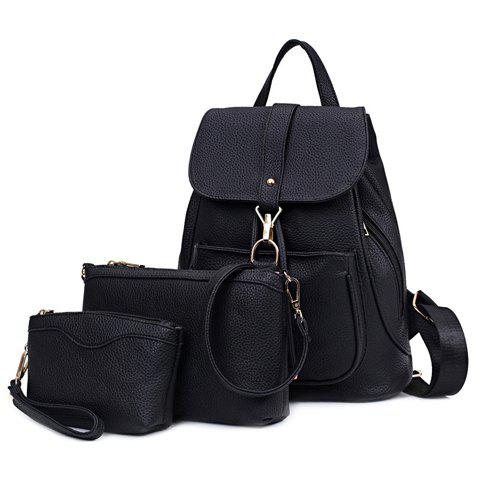 Casual Solid Color and String Design Women's Satchel - BLACK