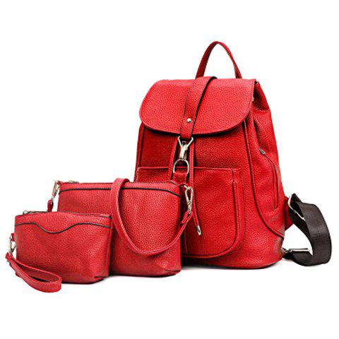 Casual Solid Color and String Design Women's Satchel - RED