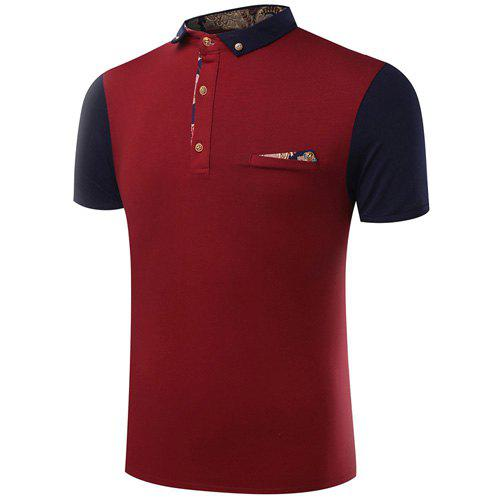 Turn-Down Collar Button Embellished Color Block Spliced Short Sleeve Men's Polo T-Shirt - WINE RED XL