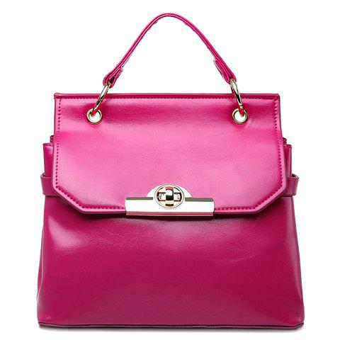 Vintage Hasp and Solid Color Design Tote Bag For Women