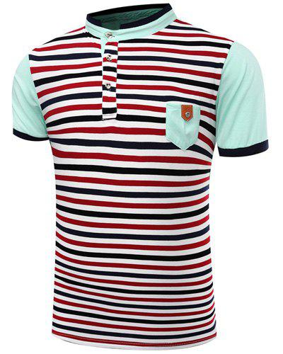 Modish Stand Collar Stripes Print Patch Pocket Short Sleeve Men's Polo T-Shirt - LIGHT BLUE L