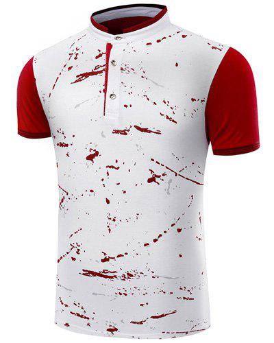 Trendy Stand Collar Ink Painting Design Short Sleeve Men's Polo T-Shirt