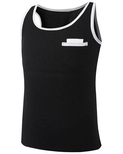 Trendy Round Neck Color Block Splicing Sleeveless Men's Tank Top - BLACK L