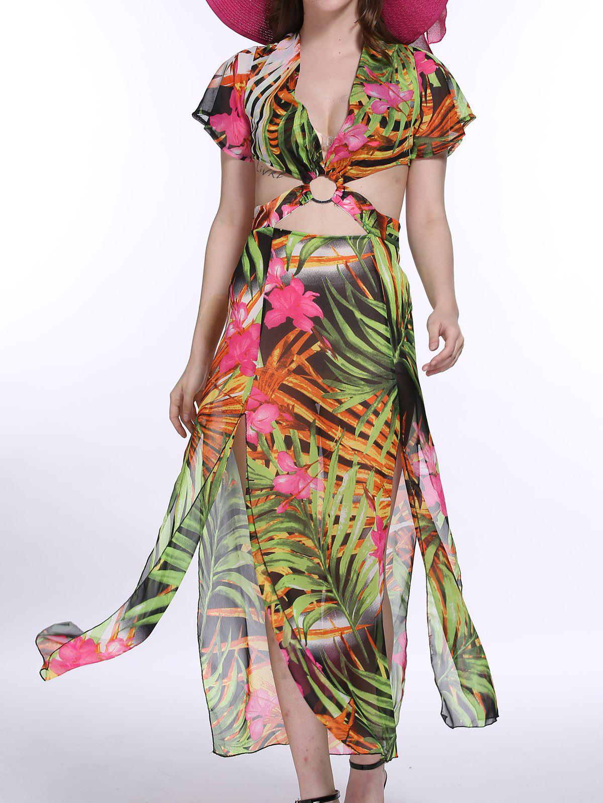 Bohemian Trees Print Hollow Out Waist Maxi Dress For Women - COLORMIX M