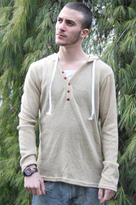 Single-Breasted Drawstring Hooded Solid Color Slimming Long Sleeves Men's Thicken Sweater - BEIGE L