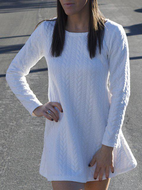 Graceful Long Sleeve Scoop Neck Knitted Pure Color Women's A-Line Dress - WHITE L
