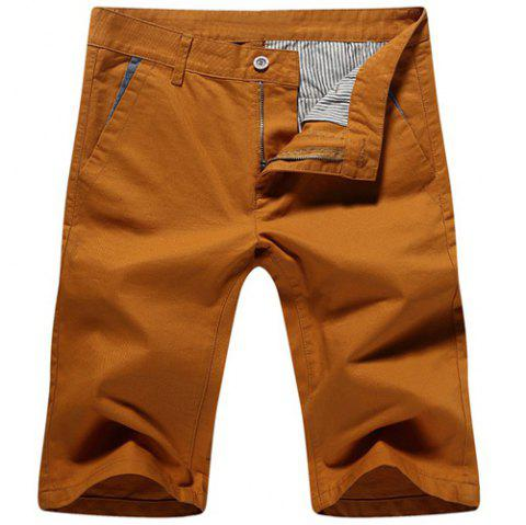 Casual Solid Color Zip Fly Shorts For Men - EARTHY 31