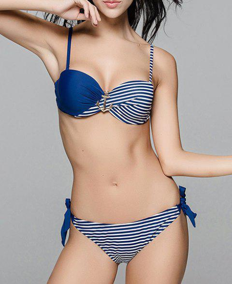Cute Striped Spaghetti Strap Color Block Women's Bikini Set - PURPLISH BLUE L