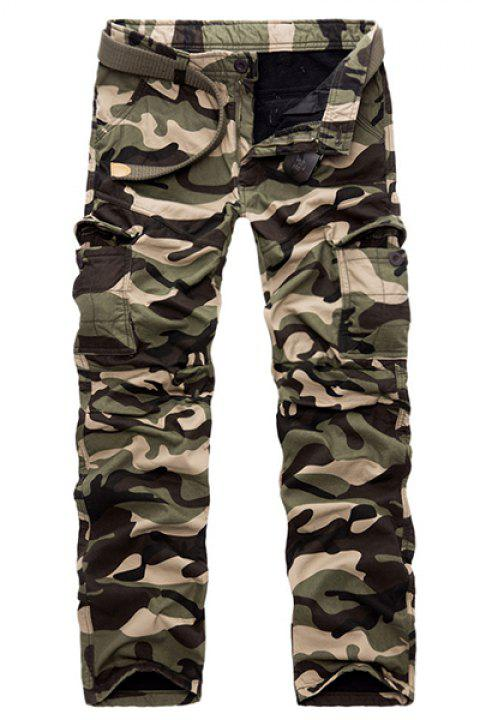 Military Style Straight Leg Multi-Pocket Loose Fit Men's Zipper Fly Camo Cargo Pants(Thicken) - ARMY GREEN 32