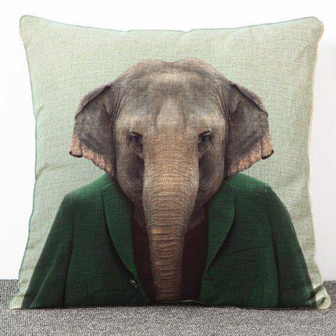 Hot Sale Cartoon Elephant Pattern Flax Pillow Case(Without Pillow Inner) - COLORMIX
