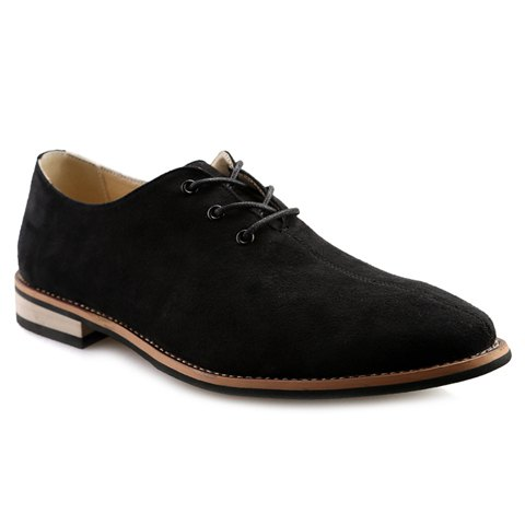 Fashionable Lace-Up and Suede Design Men's Casual Shoes - BLACK 40
