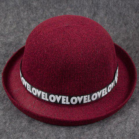 Chic Letters Print Band Embellished Women's Knitted Bowler Hat - WINE RED
