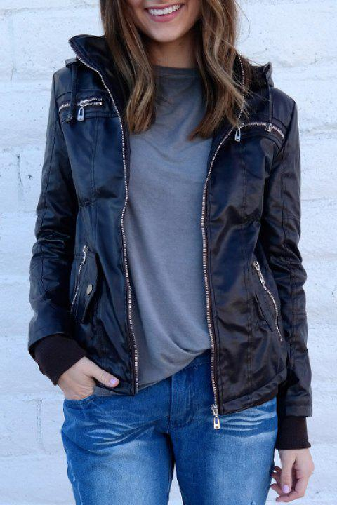 d05506c1ea0b2 Chic Solid Color Hooded Detachable Sleeve Faux Leather Jacket For Women -  COFFEE M