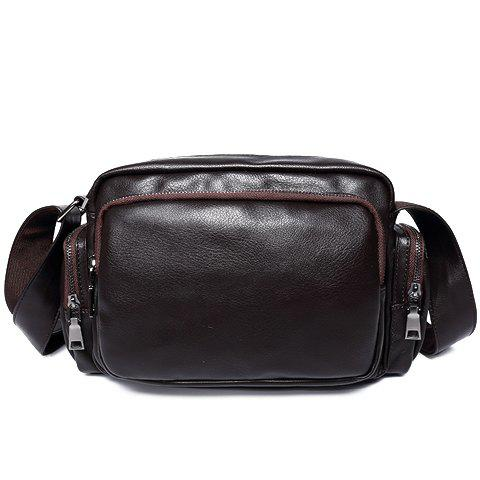 Concise PU Leather and Zippers Design Men's Messenger Bag - DEEP BROWN