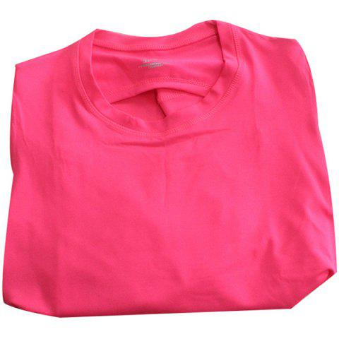 Active Women's Scoop Neck Hollow Out Candy Color Long Sleeve Gym Top - ROSE S
