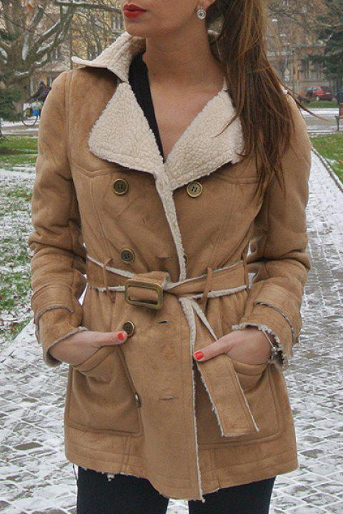 Stylish Turn-Down Collar Long Sleeve Double-Breasted Belted Women's Coat - CAMEL M
