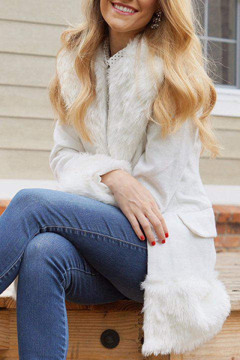 Elegant Turn-Down Collar Long Sleeve Fake Fur Embellished White Coat For  Women - WHITE 20f543fbbd