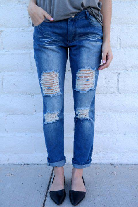 Trendy Mid-Waisted Bodycon Hole Design Women's Jeans - BLUE M