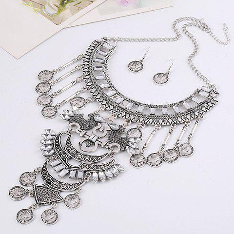 A Suit of Queen Pattern Coin Necklace and Earrings - WHITE