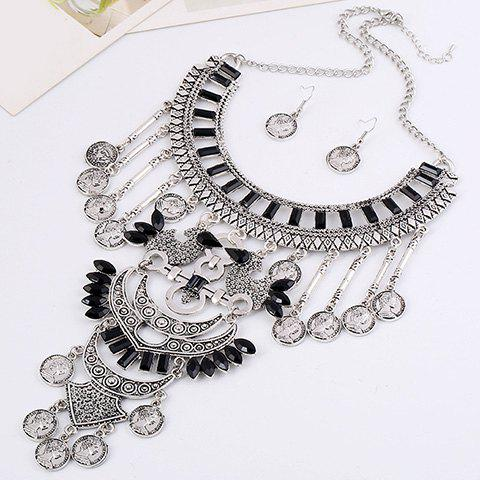 A Suit of Queen Pattern Coin Necklace and Earrings - BLACK