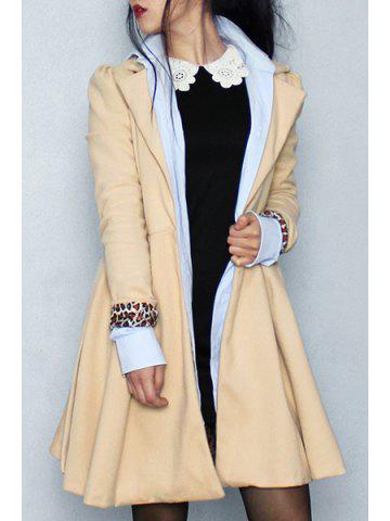 fa175686b86e2 Noble Long Sleeve Turn-Down Collar Self Tie Belt Pure Color Women s Coat  Dress