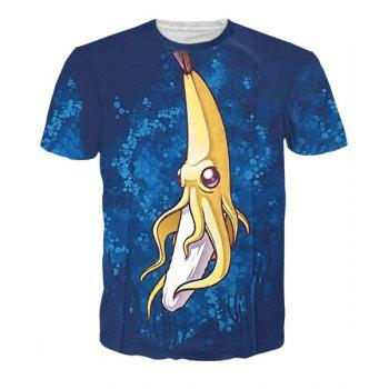 3D Cartoon Banana Print Short Sleeves Character T-Shirt - COLORMIX COLORMIX