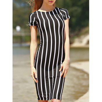 Stylish Round Neck Short Sleeve Striped Slimming Women's Dress