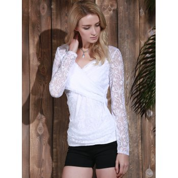 Long Sleeve Plunging Neck See-Through Lace Women's T-Shirt - WHITE S