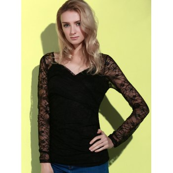 Long Sleeve Plunging Neck See-Through Lace Women's T-Shirt - BLACK S