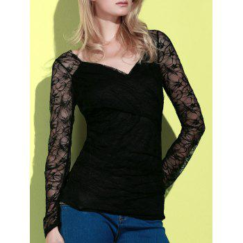 Long Sleeve Plunging Neck See-Through Lace Women's T-Shirt