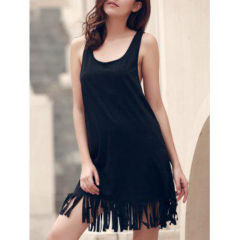 Sleeveless Fringed U-Neck Cover-Up