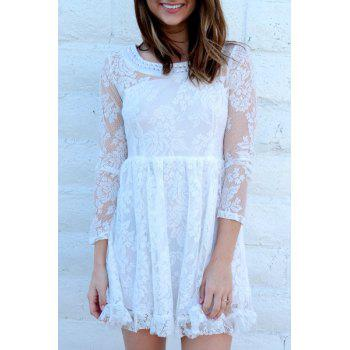 Noble Beaded Scoop Neck High Waist Ruffled White Lace Dress For Women
