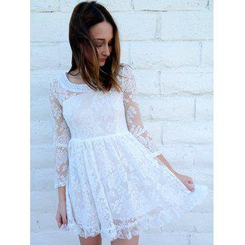 Noble Beaded Scoop Neck High Waist Ruffled White Lace Dress For Women - WHITE S