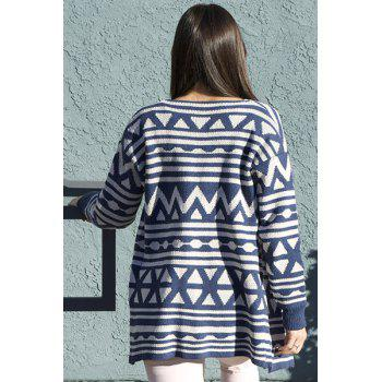 Fashionable Turn-Down Collar Geometric Pattern Long Sleeve Women's Cardigan - BLUE ONE SIZE(FIT SIZE XS TO M)