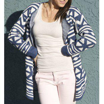 Fashionable Turn-Down Collar Geometric Pattern Long Sleeve Women's Cardigan