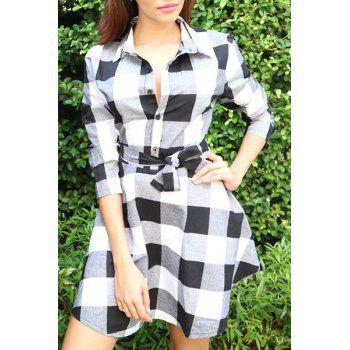 Stylish Turn-Down Collar 3/4 Sleeve Belted Gingham Women's Dress