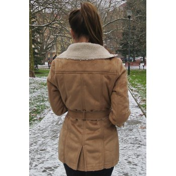 Stylish Turn-Down Collar Long Sleeve Double-Breasted Belted Women's Coat - CAMEL S
