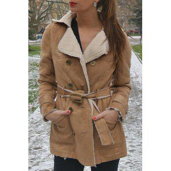 Stylish Turn-Down Collar Long Sleeve Double-Breasted Belted Women's Coat
