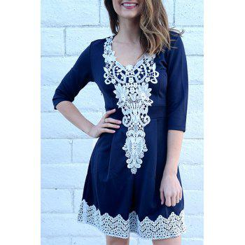 1/2 Sleeve Lace Splicing Round Neck A-Line Dress For Women