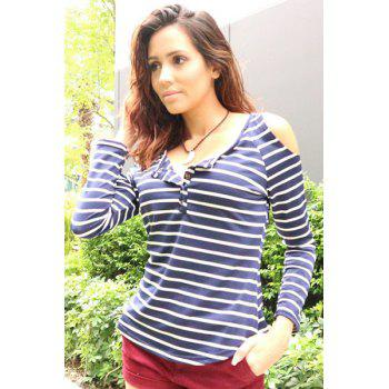 Trendy Women's Scoop Neck Long Sleeve Hollow Out Striped T-Shirt - BLUE GRAY ONE SIZE(FIT SIZE XS TO M)