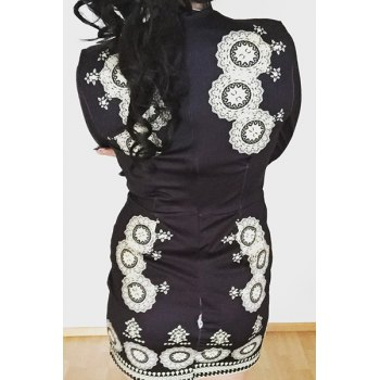 Plunging Neck Long Sleeve Bodycon Dress - BLACK S