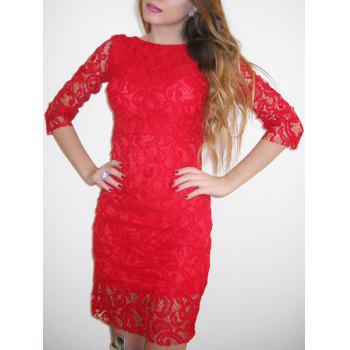 Sexy Slash Collar 3/4 Sleeve Backless Cut Out Women's Lace Dress