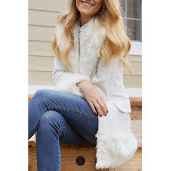 Elegant Turn-Down Collar Long Sleeve Fake Fur Embellished White Coat For Women