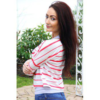 Stylish Striped Scoop Neck Elbow Spliced Long Sleeve T-Shirt For Women - RED RED