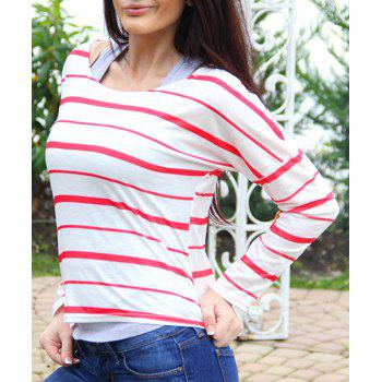 Stylish Striped Scoop Neck Elbow Spliced Long Sleeve T-Shirt For Women - RED L