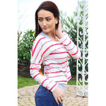 Stylish Striped Scoop Neck Elbow Spliced Long Sleeve T-Shirt For Women - L L
