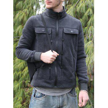 Fashion Pocket and Button Design Turndown Collar Long Sleeve Slimming Men's Polyester Sweatshirt - DEEP GRAY L