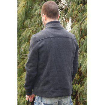 Fashion Pocket and Button Design Turndown Collar Long Sleeve Slimming Men's Polyester Sweatshirt - XL XL